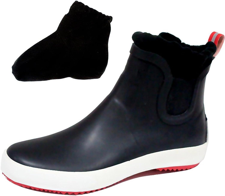 CAMSSOO Women's Men's Elastics Rain Boots shoes with Thick Socks Black RubberSize 9 US M