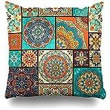 LinUpdate-Store Cojín Funda Retro Amarillo Floral Patchwork Patrón árabe Portugal Azul Arabesque Cerámica Damasco Étnico