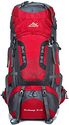 Alpinisme en Plein air Sacs à Dos Voyage Sac à Dos Sac étanche 75 + 5L Camouflage Sacs à Dos Randonnée Alpinisme Camping Sac à Dos pour Hommes Femmes,rouge