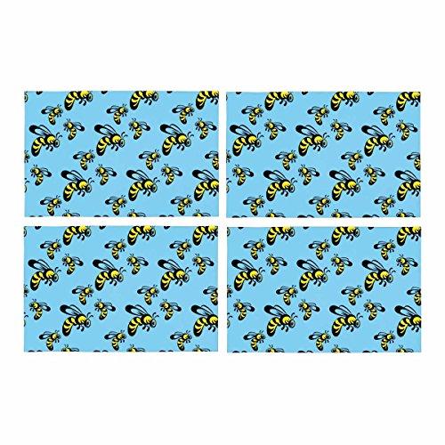 InterestPrint Naadloos Patroon Honing Bee Queen Bee Cartoon Bee Placemat Tafelmatten Set van 4, Hittebestendige Plaats Mat voor Eettafel Restaurant Thuis Keuken Decor 12