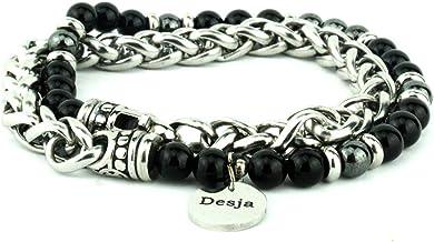 Braccialetto uomo doppio con catena in acciaio con pietra dura onice nero ed ematite bracciale da uomo unisex firmato Desja