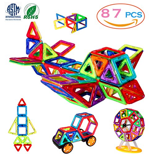 MANVE Magnetic Blocks Building Toys Set, Magnetic Tiles, Educational Toys for Baby/Kids? 87Pcs DELUXE SET?