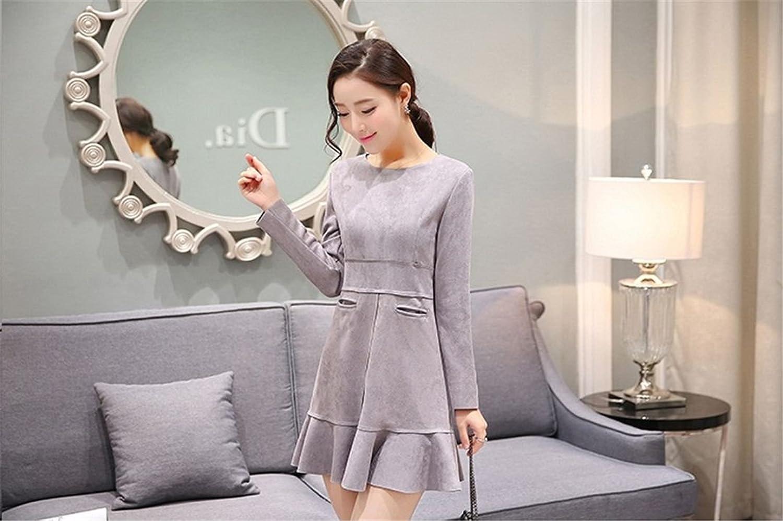 2019 Japanese Street Style Sexy neues Kleid mit rundem Halsausschnitt (grey)