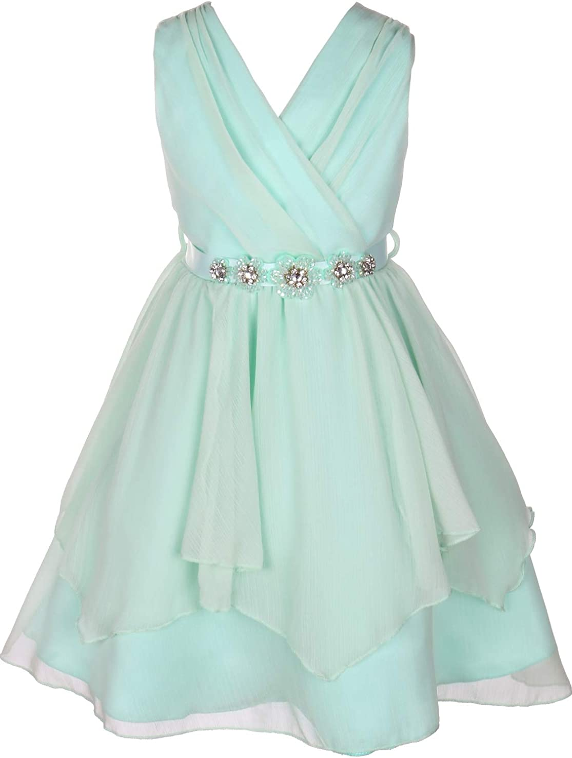 BNY Corner V Neck Chiffon Asymmetrical Bridesmaid Easter Flower Girl Dress 4-14