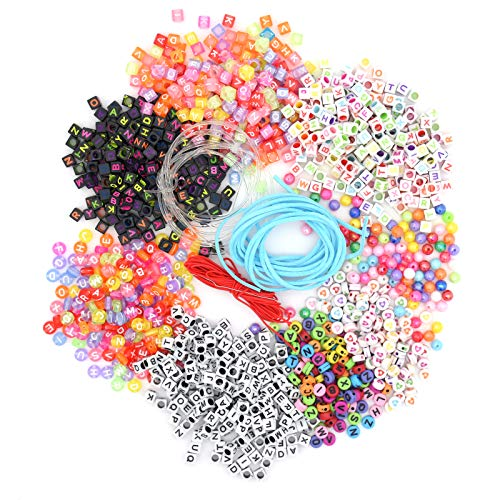YMWALK Letter Alphabet Beads,1300 Pieces A-Z Cube Beads Kit Mixed Colorful Acrylic Letter Beads with Crystal and Colored String Cord for Kids DIY Jewelry Making Key Chains Making (8