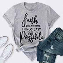 NEARTIME T-Shirt for Womens Plus Size Letter Print Blouse Fashion Summer Christian Casual Tank Tops Shirt