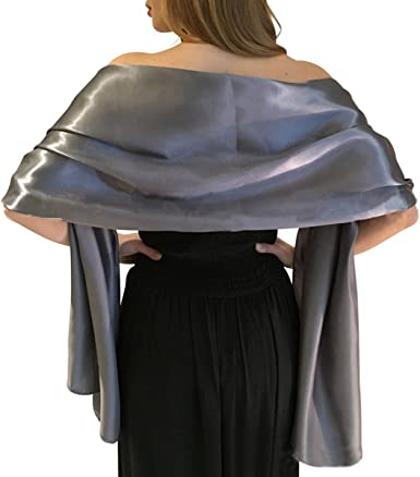 Satin Warp Versatile Scarf Shawl Bridal Stole Wedding Silky Shrug for Womens Evening Prom Party Two Styles