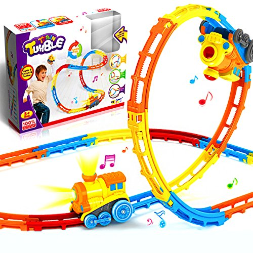Jellydog Toy Tumble Train Track Set, Track Car Twister Set, Electric Flexible 23 Colorful Music Tracks + 1 Light Up Dump Truck , Build-A-Road X-Track Toy Car Playset, for Ages 3 and Up