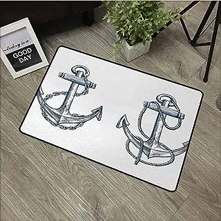 Wang Hai Chuan Anchor Commercial Grade Entrance mat Vintage Sketch Nautical Element Ship Sailing Travel Theme Artistic Chain Rope for entrances garages patios W19.7 x L31.5 Inch Dark Teal White