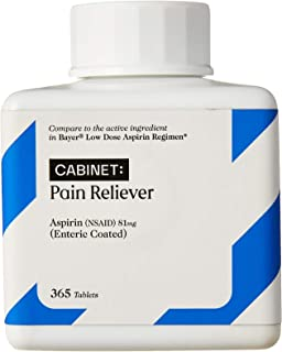 Cabinet Low Dose Aspirin 81mg for Adults and Kids 12 and Up, Slow Release Strength for Daily Regimen, Comparable to Bayer Active Ingredients, 365 Coated Tablets