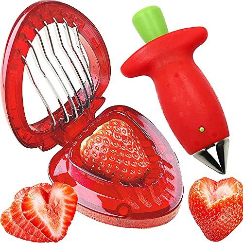Cortadora de Fresas, Descorazonador de Manzana de Acero Inoxidable, Herramienta de Descascaradora de Fresa, Mini herramienta para cortar frutas, Utensilios de Cocina, Para la cocina casera, rojo