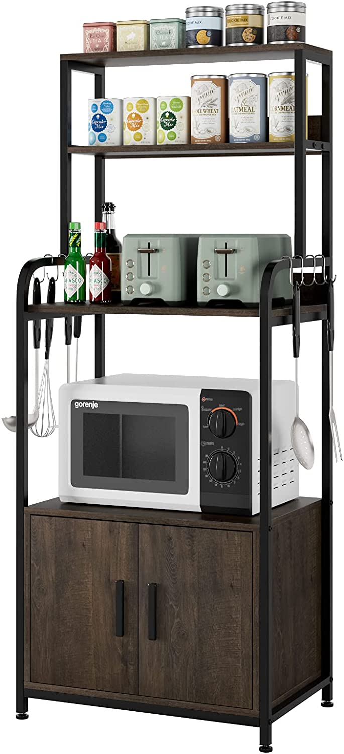 Kitchen 2021 Baker's Phoenix Mall Rack with Hutch Cabinet Storage and 4-Tier Indu