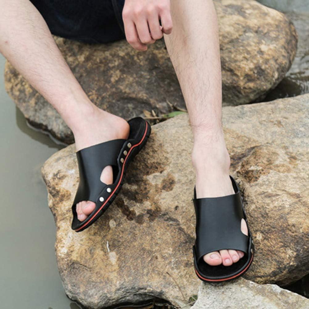 LIOOBO Pantoufles en Cuir antid/érapantes pour Hommes