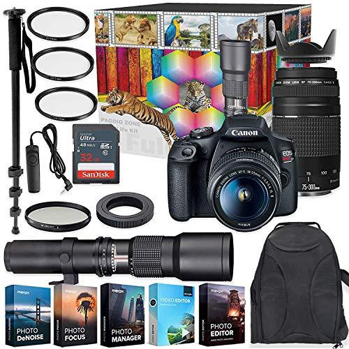 Best Prices! Canon EOS Rebel T7 DSLR Camera with 18-55mm & 75-300mm Lenses Kit + 500mm Preset Wildli...