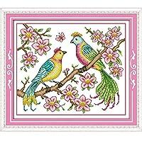 愛の鳥クロスステッチキット18ctカウント11ct数え布ライトブルーキャンバス刺繍diy手作り針仕事クロスステッチ-14ct blue canvas