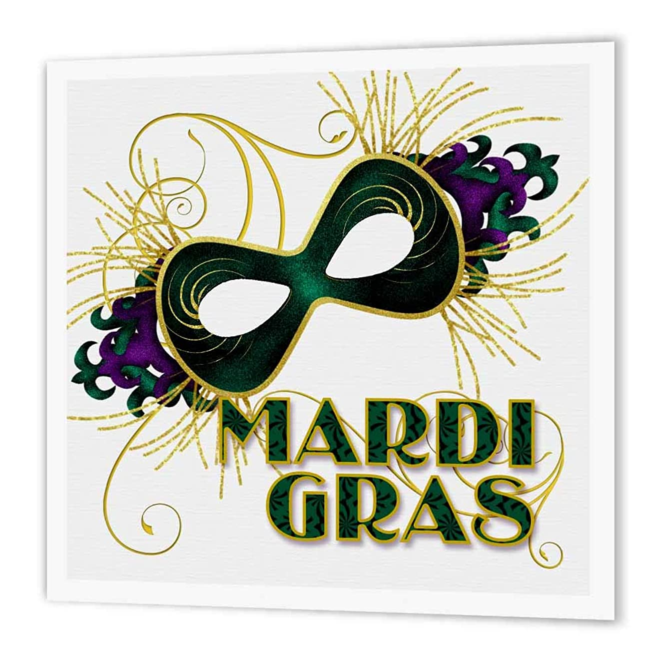 3dRose ht_173234_2 Mardi Gras Green Gold and Purple Mask for Celebrating-Iron on Heat Transfer Paper for White Material, 6 by 6-Inch