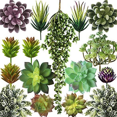 Miltonson Artificial Succulent Plants Fake Assorted - 16 Pack - Unpotted Face Succulent Plants - Realistic Textured Succulents Picks - Fake Plants for Decoration - Faux Aloe Cactus Plant Bulk