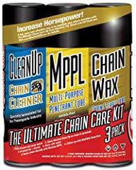 3 Pack Contains: Maxima Clean Up 15.5 ounce, Maxima Multi Purpose Penetrant Lube 14.5 ounce and Maxima Chain Wax 13.5 ounce Maxima Clean Up is a heavy duty, emulsion type cleaner designed to thoroughly clean chains without harming rubber O-rings or m...