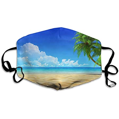 Beach Island Ocean Dream With Palm Tree Leaves On Golden Tropical Sand Beach Sea Landscape Printed Facial Decorations For Women And Men