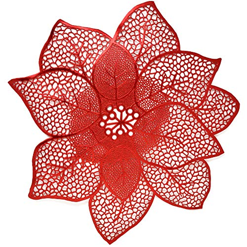 """Christmas Poinsettia Place Mats Set of 4 Red Festive Vinyl Table Mat Washable for Holiday Table Top Doilies Centerpieces Decorations 17.5"""" Diameter"""