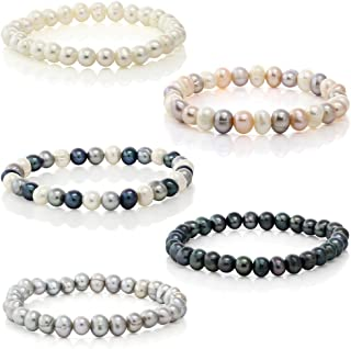 Set Of 5 Multicolored Genuine Freshwater Cultured 8mm Pearl Stretch Bracelets 7.5