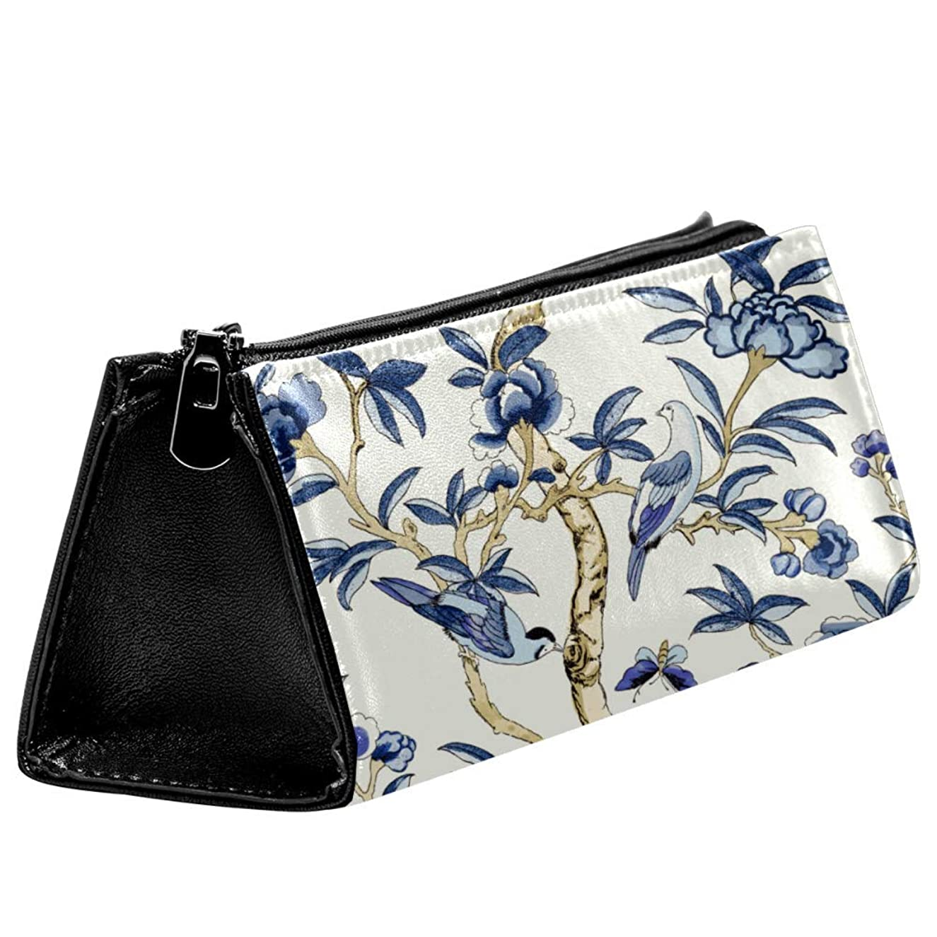 Anmarco Blue Floral and Bird Pen Bag Stationery Pouch Pencil Bag Cosmetic Pouch Bag Compact Zipper Bag