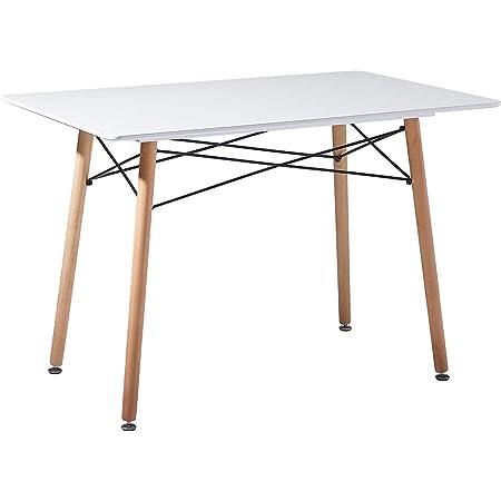 H.J WeDoo Table à Manger Rectangulaire Scandinave Blanche 110 x 70 x 73 cm avec Cadre en Acier