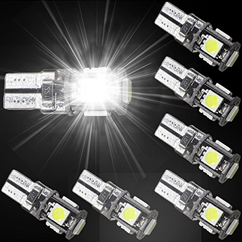 Muchkey® T10 de voiture ampoules LED Intérieur LED Lampes de voiture Lampes LED 5 lampes LED 5050SMD Blanc Lot de 6