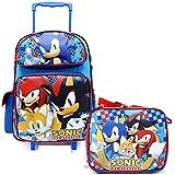 Sonic The Hedgehog 16' Large School Roller Backpack Lunch Bag Set Plus Stationery Set