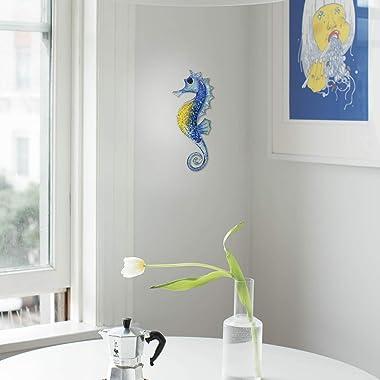 Liffy Metal Seahorse Wall Decor Bathroom Ocean Glass Art Outdoor Hanging Beach Theme Decorations Blue Sea Life Sculpture for