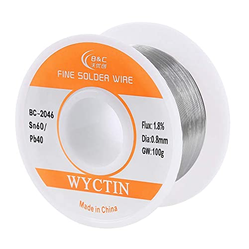 WYCTIN 0.8mm 100G 60/40 Rosin Core Tin Lead Roll Soldering Solder Wire