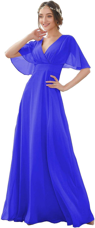 RTB V Neck Sales results No. 1 Chiffon Bridesmaid Dresses Sleeves Batwing A Lin Long New sales