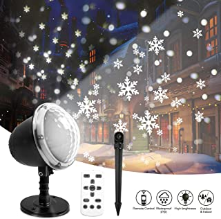 Christmas Projector Lights Outdoor LED Snowflake Christmas Lights with Remote Control Snowfall with Moving Patterns Snow Falling Landscape Projection Light Indoor Outdoor Patio Garden Decoration