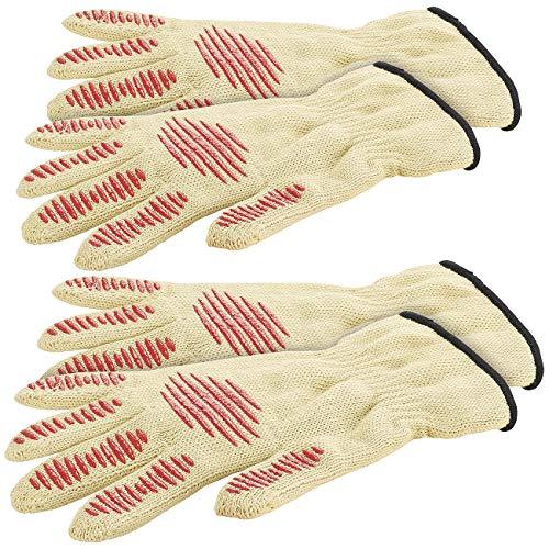 Rosenstein & Söhne Grillhandschuh: 4er-Set Sicherheits-Handschuh, Hitze- & Schnittschutz, Antirutsch-Pads (Arbeitshandschuhe)
