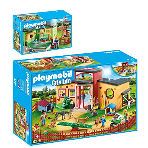 PLAYMOBIL® City Life 2er Set 9275 9276 Tierhotel Pfötchen + Katzenpension