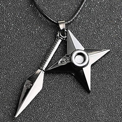 YUNMENG Naruto Collar Kunai Shuriken dardo Arma Konoha Logo Uzumaki Naruto Colgante Cuerda de Cuero Ninja Cosplay Anime joyería