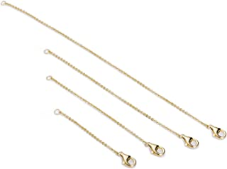 Necklace Extenders Sterling Silver Bracelet Anklet Extenders Set 2, 3, 4, and 6 Inches in Gold, Rose Gold and Silver