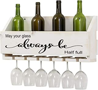 Del Hutson Designs The Little Elm Wine Rack w/Quote 'May Your Glass Alway Be Half Full, USA Handmade Reclaimed Wood, Wall Mounted, 4 Bottle 4 Long Stem Glass Holder