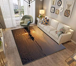 Area Rug and Carpet for Home Living Room, sunset at putuo island oil painting stylized photo oil painting seas Large Anti ...