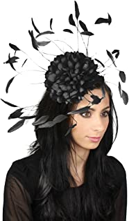 Margeaux Feather Ascot Kentucky Derby Fascinator Hat with Headband