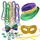 JOYIN Mardi Gras Accessory Set Party Favors with Beads Necklaces, Sequin Fedora Hat, Masquerade Mardi Gras Mask, Sequin Bow Tie. 24 Temporary Tattoos, 3 Pendants