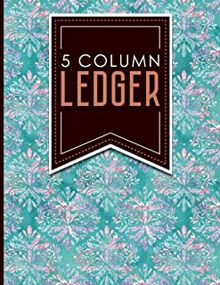 5 Column Ledger: Accountant Notepad, Accounting Paper, Ledger Notebook, Hydrangea Flower Cover, 8.5