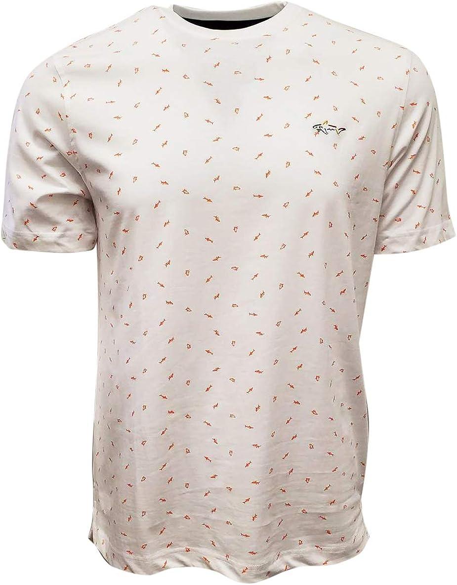 Greg Norman Men's Scattered Crewneck Shark T-Shirt Fixed Arlington Mall price for sale