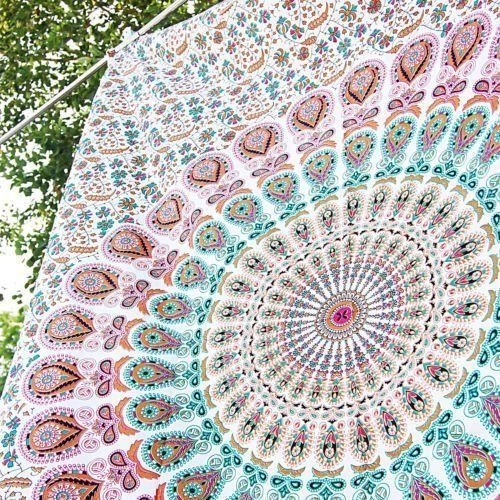 GLOBUS Choice InC. Tapiz azul para colgar en la pared, tapices de mandala, colcha de algodón indio.