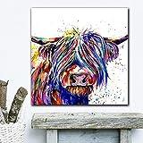 DASHBIG IMPRESIÓN Colorido Highland Cow Art Poster Canvas Art Animal Art Pintura al óleo Cuadros de Pared para Sala de Estar Moderno | 60x60cm Sin Marco