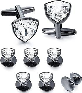 HAWSON Swarovski Crystal Cufflinks and Studs Set for Men - 2 Pcs Cufflinks with 6 Pieces Studs in Gift Box