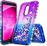E-Began Case for Alcatel TCL A1X A503DL (TracFone, Straight Talk, Total Wireless, Net10), Sparkle Glitter Flowing Waterfall Liquid Floating w/Bling Diamond, Durable Girls Cute Case -Purple/Blue