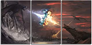 Canvas Prints Poster Room Home Decor 3 Piece Game Canvas Wall Art Ice and Fire Dragon Painting Modular Wall Art Picture