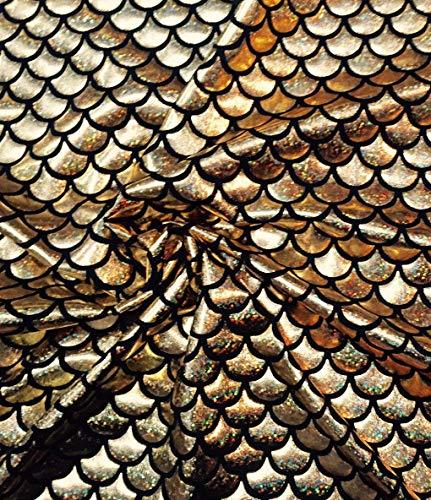 Zeemeermin Schaal Afdrukken Stof Vis Verhaal Schalen Folie - 2 Weg Stretch Materiaal Lycra Spandex - Bikini, Kostuum, Jurk, Decor - 150cm Breed 2 METERS Goud en Zwart