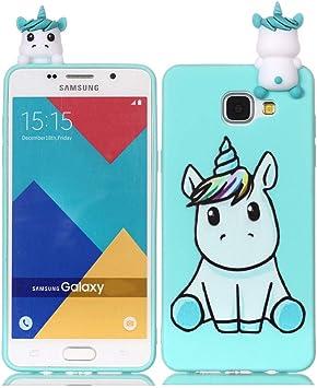 Leton Coque Samsung Galaxy A3 2016 Silicone Coque Galaxy A3 2016 3D Vert Licorne Motif Housse Galaxy A310 Ultra Fine TPU Souple Étui Cute Mignon Slim ...
